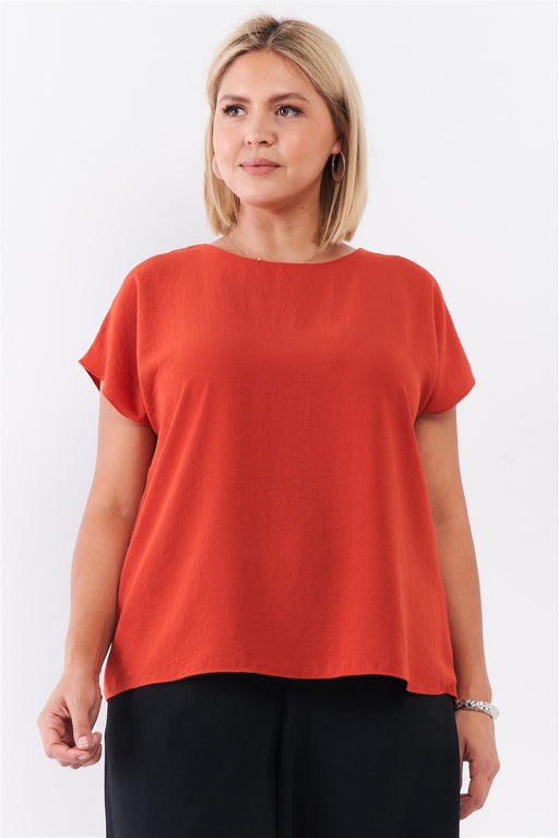 EVAVON Womens Plus Size Fashion Apparel Tangerine Orange Short Sleeve Loose Fit Top Orange Oasisincentives