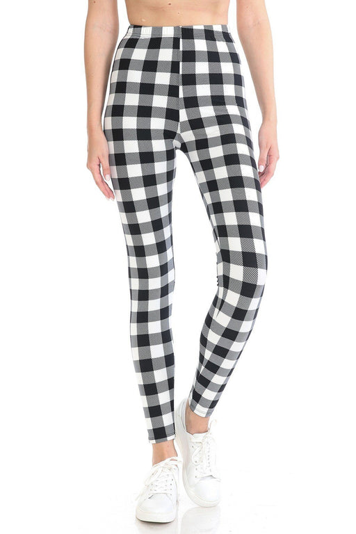 EVAVON Womens Multi Printed, High Waisted, Leggings With An Elasticized Waist Band Black/White Oasisincentives