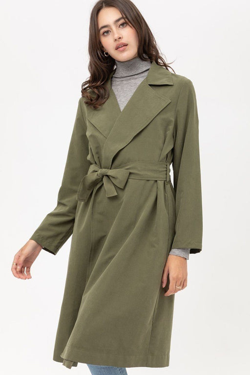 EVAVON Womens Outerwear Trench Coat With Waist String Detail Olive Oasisincentives