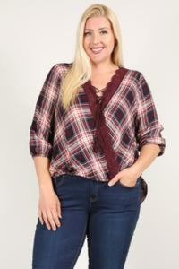 EVAVON Womens Plus Size Fashion Apparel Plaid 3/4 Sleeve Top With Hi-lo Hem, V-neckline, And Relaxed Fit Wine Oasisincentives
