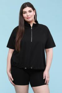 EVAVON Womens Plus Size Apparel Activewear French Terry Pullover Sweatshirt Black Oasisincentives