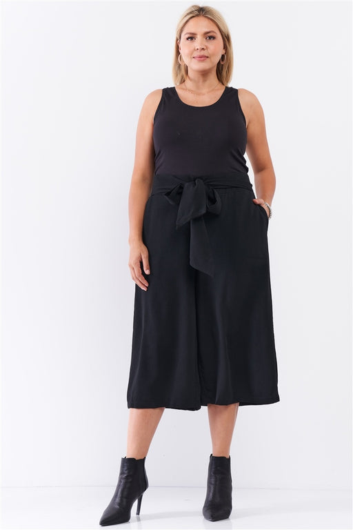 EVAVON Womens Plus Size Apparel Black Self-tie High Waist Detail Wide Leg Midi Length Pants-Oasisincentives