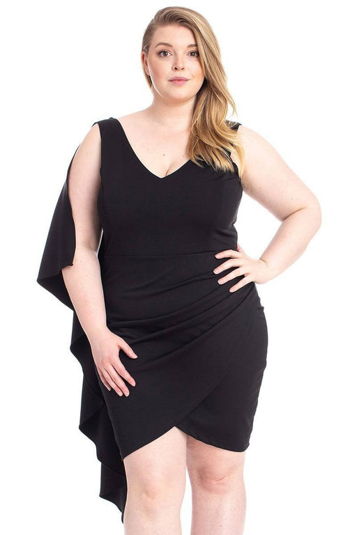EVAVON Womens Plus Size Fashion Apparel Back Shoulder Cape Plus Size Mini Dress Black-Oasisincentives