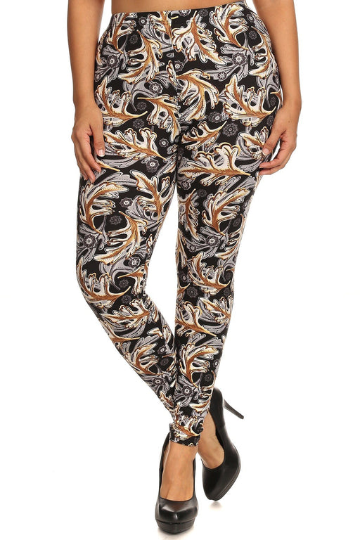 EVAVON Womens Plus Size Abstract Leaf Print Full Length Leggings Multi Color-Oasisincentives