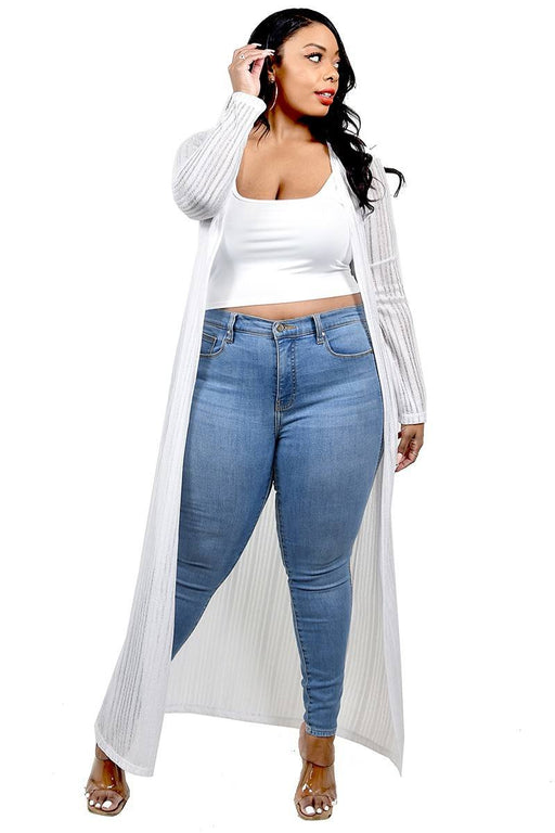 EVAVON Womens Plus Size Apparel Light Weight Knitted Cardigan White-Oasisincentives
