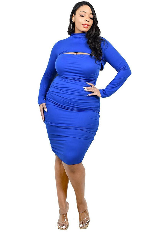 EVAVON Womens Plus Size Apparel Solid Mock Neck Top 2 Piece Dress Set Royal Blue-Oasisincentives