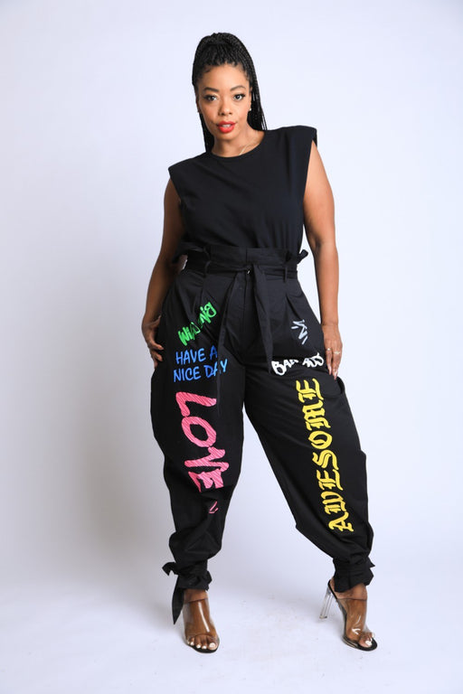 EVAVON Womens Apparel Graffiti Harem Pants Black-Oasisincentives