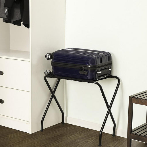 Portable Metal Luggage Rack Black - Oasisincentives