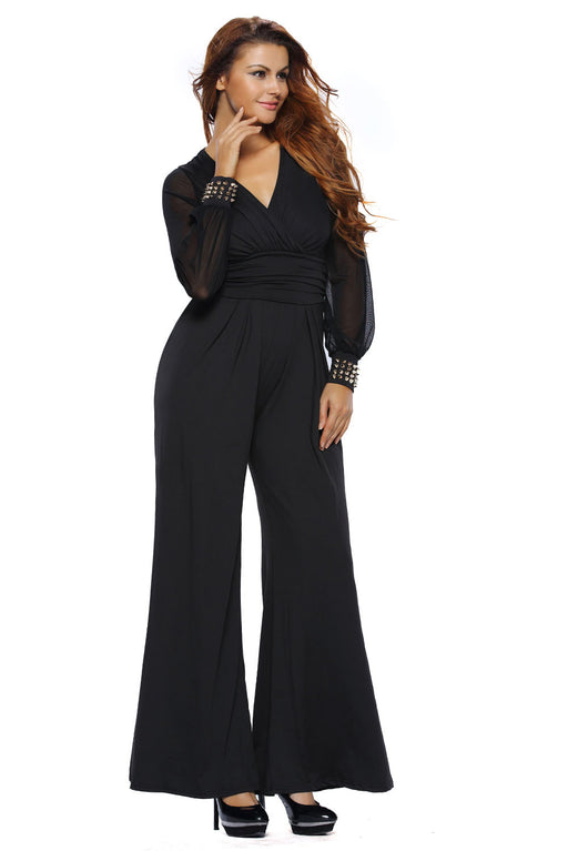EVAVON Womens Fashion Apparel Black Embellished Cuffs Long Mesh Sleeves Jumpsuit - Oasisincentives