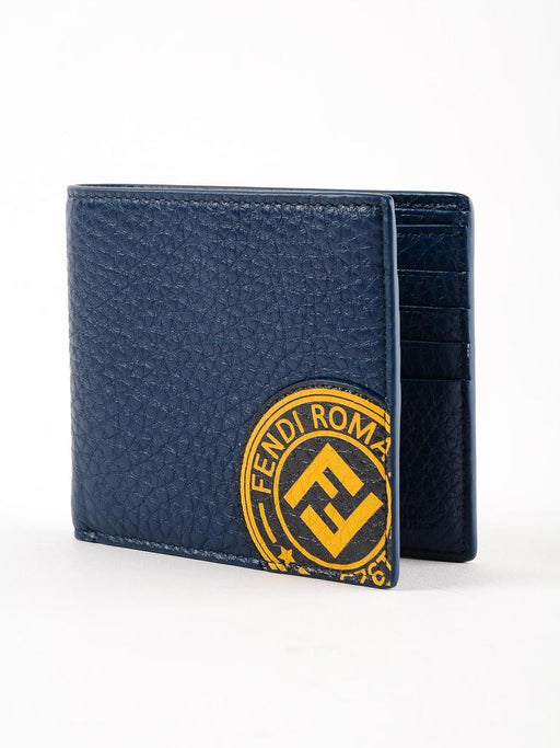 Fendi Billfold Calf Leather Navy Wallet Marine Yellow Fendi Stamp - Oasisincentives