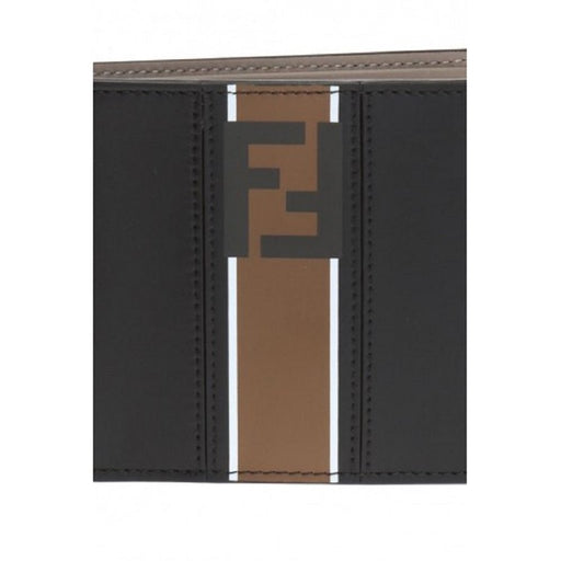 Fendi Billfold Leather Two Toned Black Brown Wallet Forever Fendi Logo - Oasisincentives