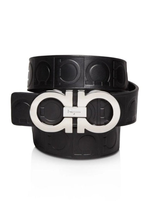 Ferragamo Size 110 Double Stamped Gancini Black Pebbled Leather Belt - Oasisincentives