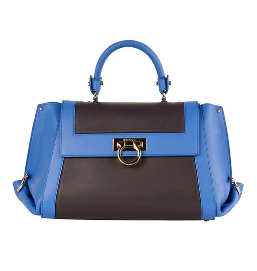 Ferragamo Sofia Calf Skin Blue Fumee Blue and Grey Medium Handbag - Oasisincentives