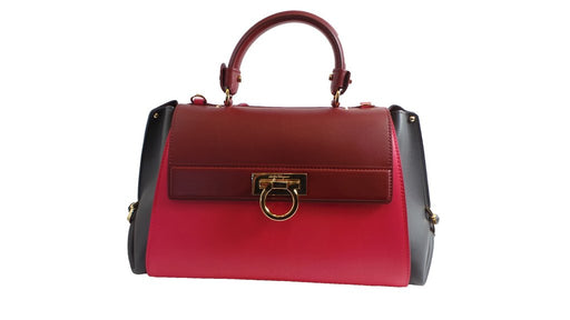 Ferragamo Sofia Calf Skin Frambiose Fumee Pink/Red Medium Handbag - Oasisincentives