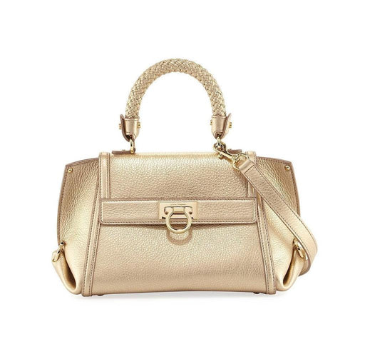 Ferragamo Sofia Women's s Metallic Gold New Bisque Leather Handbag - Oasisincentives