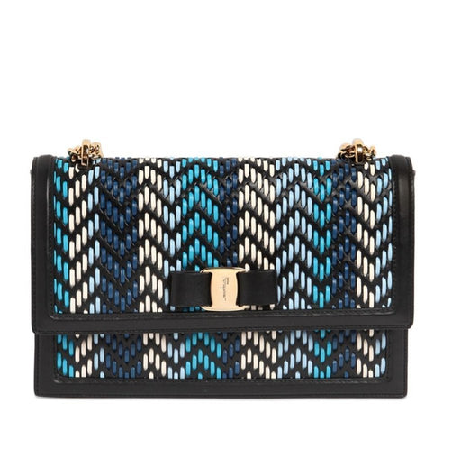 Ferragamo Women's Ginny Multi Blue Calf Shoulder Handbag - Oasisincentives