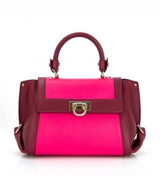 Ferragamo Women's Sofia Framboise Calf Pink Leather Handbag Medium - Oasisincentives