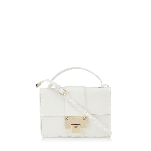 Jimmy Choo White Grainy Calf Leather Silver Hardware Cross Body Bag - Oasisincentives