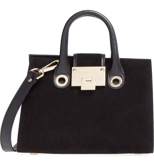 Jimmy Choo Women's Black Riley's Mini Suede Tote Crossbody Bag - Oasisincentives