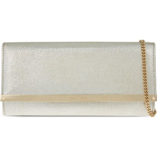 "Jimmy Choo Women's Metallic ""Milla"" Lambskin Silver Gold Leather Clutch Bag - Oasisincentives"