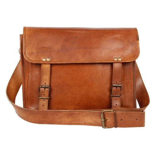 15 inch Leather Vintage Rustic Crossbody Messenger Bag for Men and Women (Unisex) - Oasisincentives
