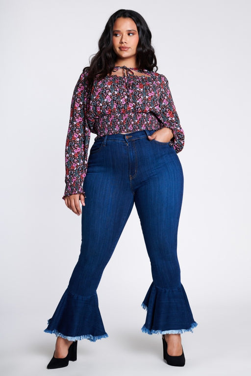 EVAVON Womens Plus Size Fashion Apparel Flare Out Denim - Oasisincentives