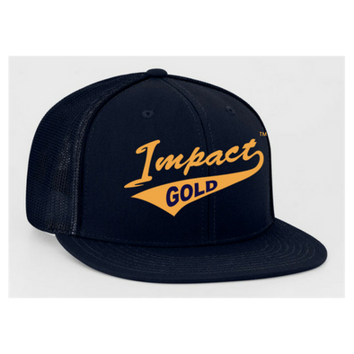 ALL Navy Impact Gold Tail Flat Bill Hat-Mesh