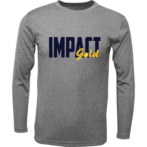 Grey Men's Crew Neck Impact Gold Block Long Sleeve
