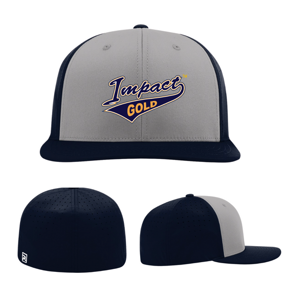 Grey Front & /Navy Bill & Back Impact Gold Tail Performance Hat