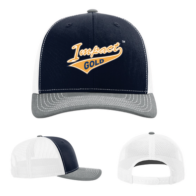 Navy Front/ Grey Bill/ White Back Impact Gold Tail Snap Back