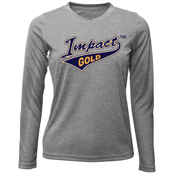 Grey Ladies V-Neck Impact Gold Long Sleeve Dri-Fit