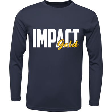 Navy Men's Crew Neck Impact Gold Block Long Sleeve