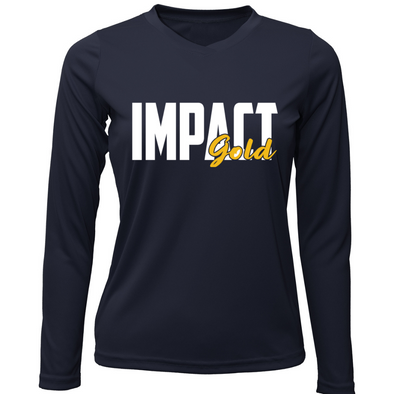 Navy Ladies V-Neck IMPACT Gold Block Long Sleeve Dri-Fit