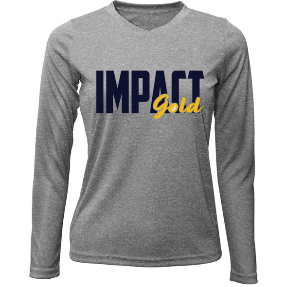 Grey Ladies V-Neck Impact Gold Block Long Sleeve Dri-Fit