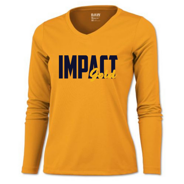 Gold Ladies V-Neck Impact Gold Block Long Sleeve Dri-Fit