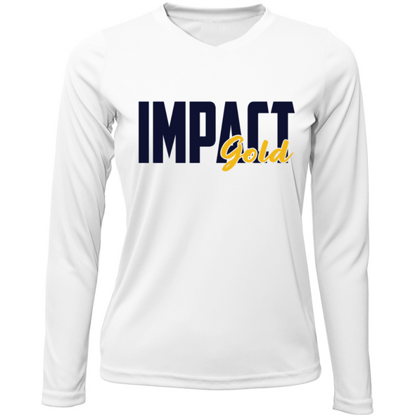 White Ladies V-Neck IMPACT Gold Block Long Sleeve Dri-Fit