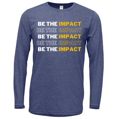 "Navy ""BE THE IMPACT"" Softstyle Cotton Long Sleeve Shirt"