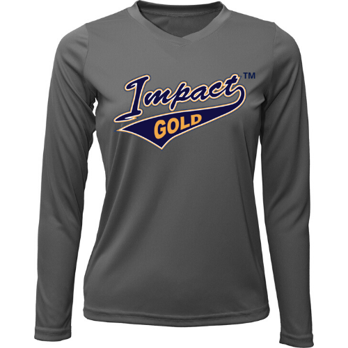 Charcoal Ladies V-Neck Impact Gold Long Sleeve Dri-Fit