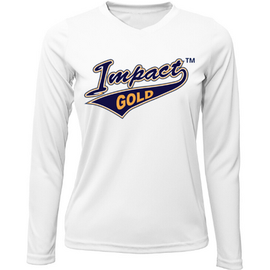 White Ladies V-Neck Impact Gold Tail Long Sleeve Dri-Fit