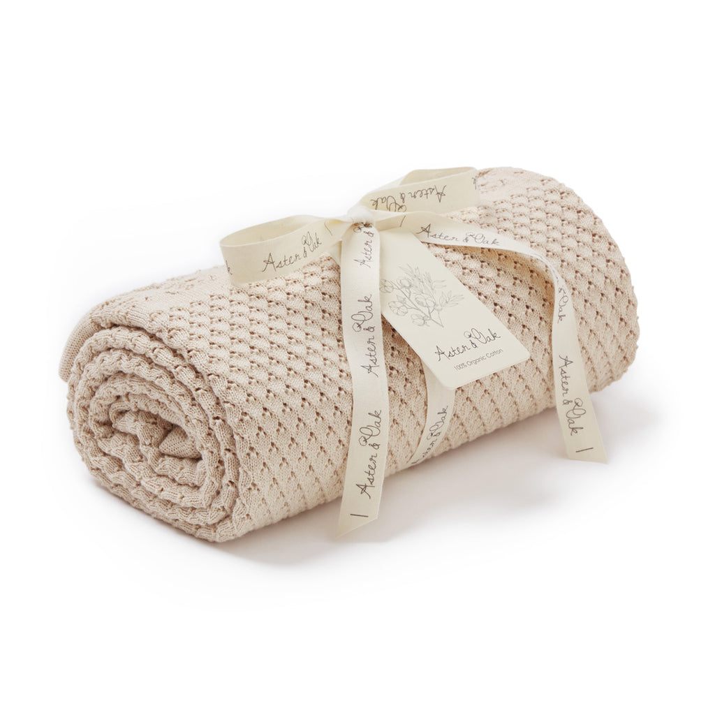 Aster & Oak Organic Cotton Oatmeal Heirloom Baby Blanket