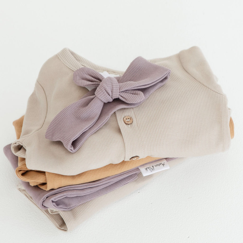 Aster & Oak Girls Ribbed Elderberry Rib Headband Stack of ribbed