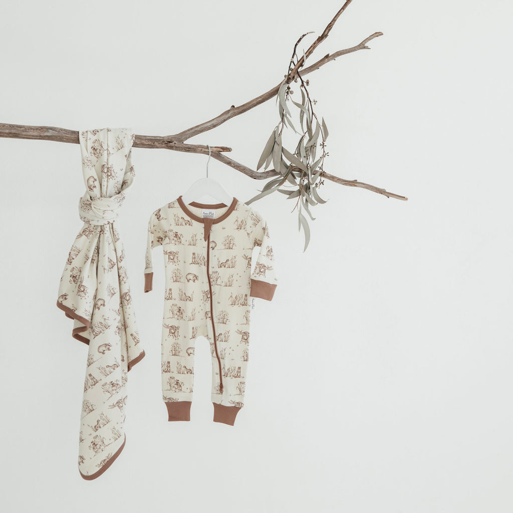 Aster & Oak Organic Cotton Swaddle Badger Baby Wrap & Zip Romper