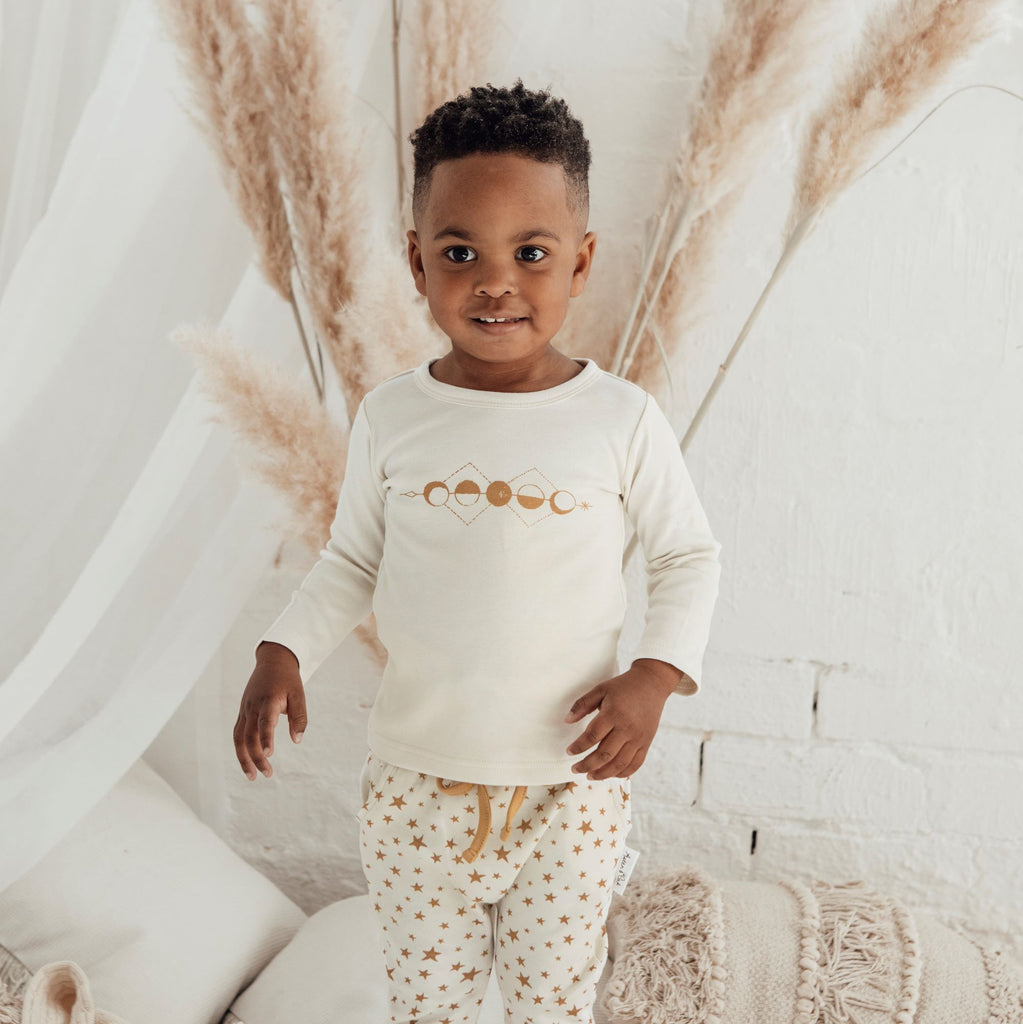 Aster & Oak Baby Boho Long Sleeve Moon Phase Print Tee Outfit