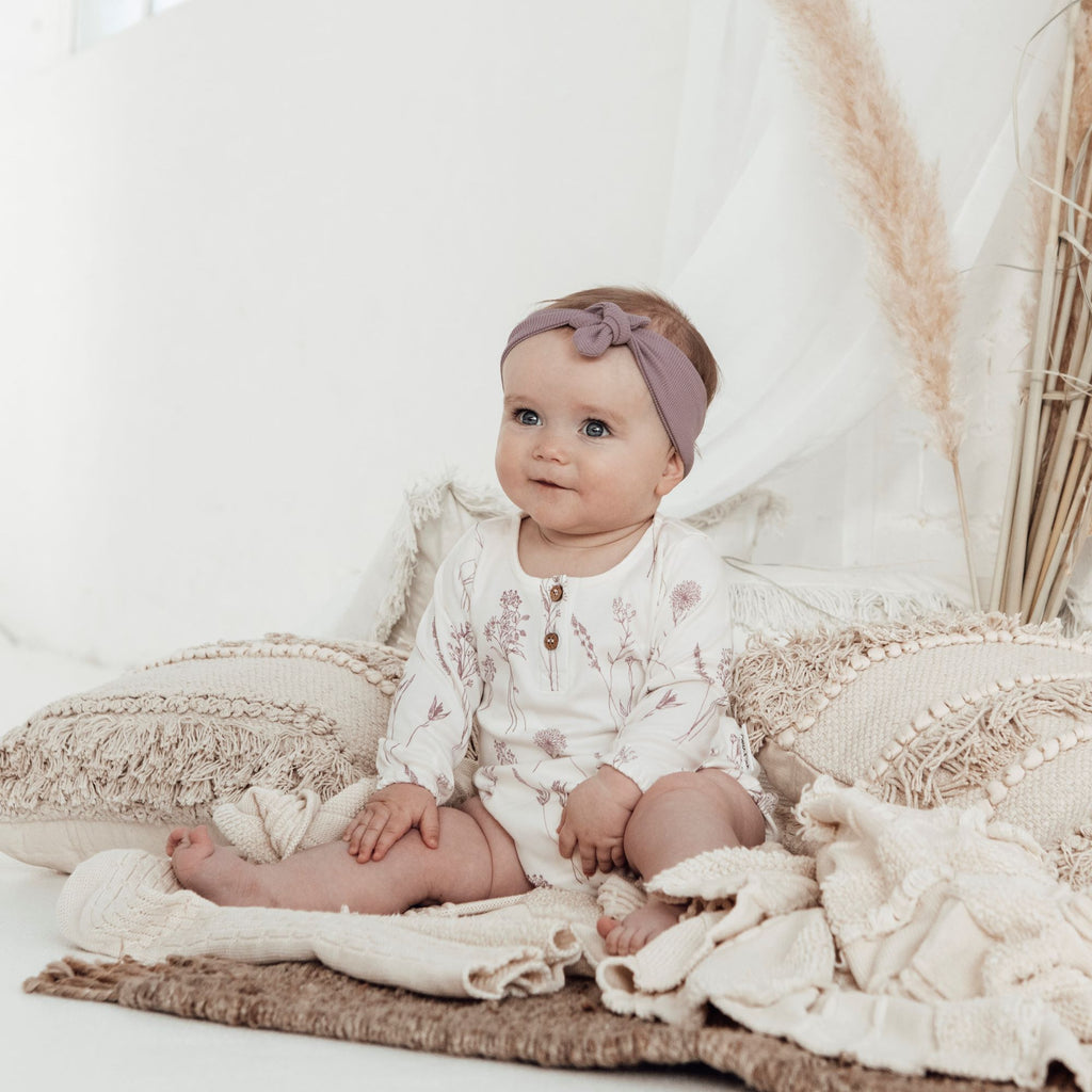 Aster & Oak Girls Ribbed Elderberry Rib Headband outfit