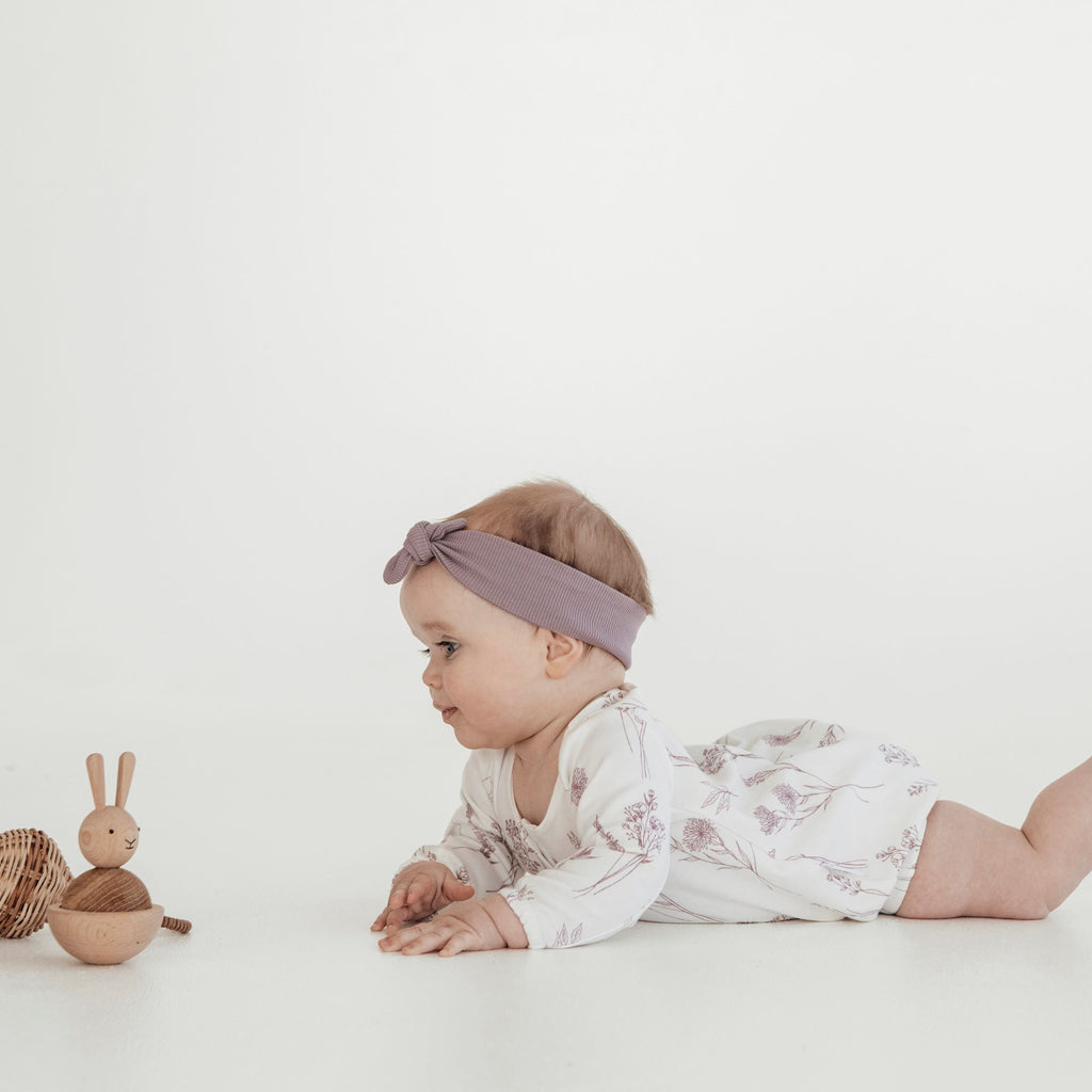 Aster & Oak Elderberry Bubble Romper Wildflower Headband