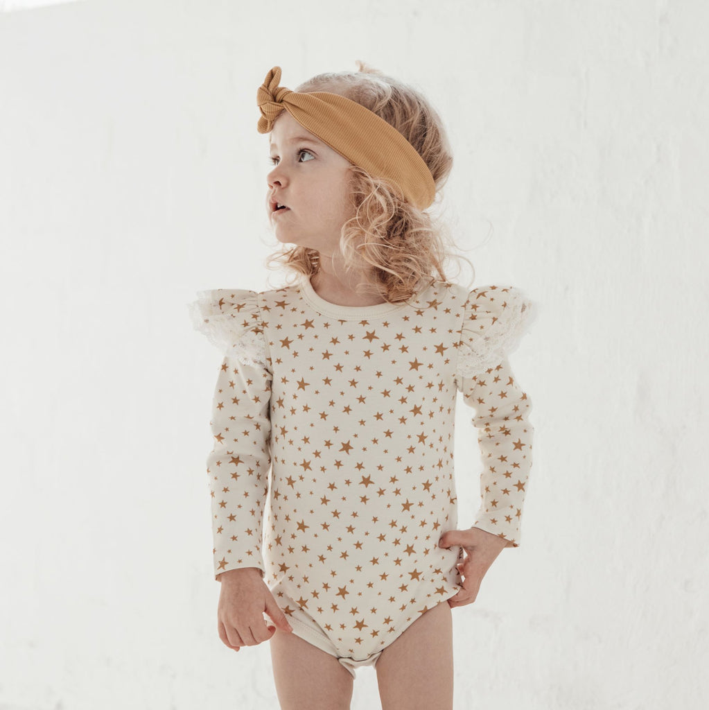 Aster & Oak Organic Lace Girls Taffy Star AOP Onesie Ruffles