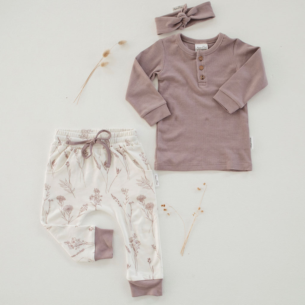 Aster & Oak Girls Organic Wildflower Harem Pants Outfit Flatlay