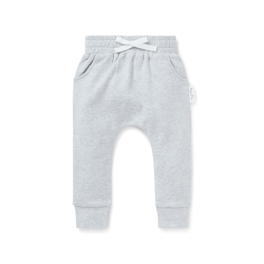 Aster & Oak Organic Cotton Baby Grey Marle Harem Pants