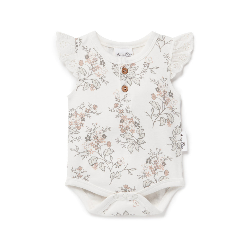 Aster & Oak Organic Cotton Girls Summer Floral AOP Henley Onesie Flatlay