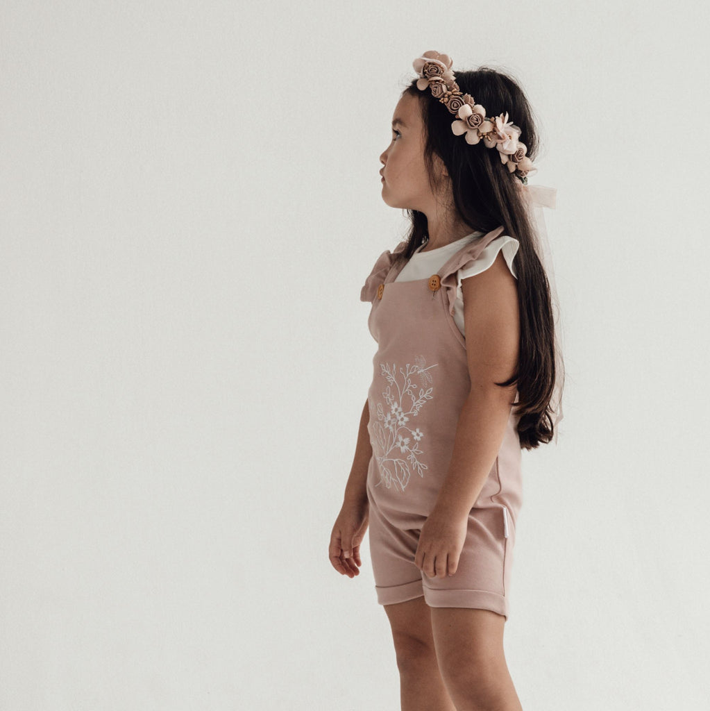 Aster & Oak Organic Girls Floral Embroidered Overalls Photoshoot